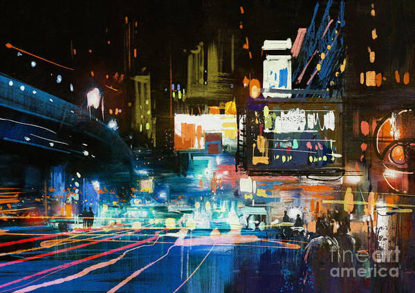 Scenery Digital Art - Painting Of Modern Urban City At by Tithi Luadthong