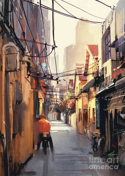 Exterior Wall Art - Digital Art - Painting Of Narrow Alleyway In Old by Tithi Luadthong