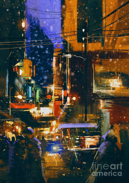 Wall Art - Digital Art - Painting Of Night City Street In by Tithi Luadthong