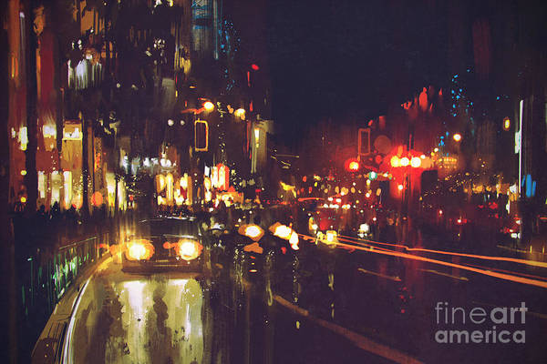 Urban Scene Wall Art - Digital Art - Painting Of Night Street With Colorful by Tithi Luadthong