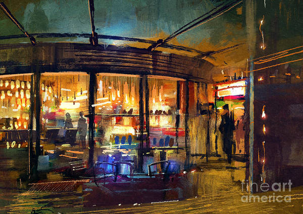 Shop Wall Art - Digital Art - Painting Of Retail Shop Entrance In by Tithi Luadthong