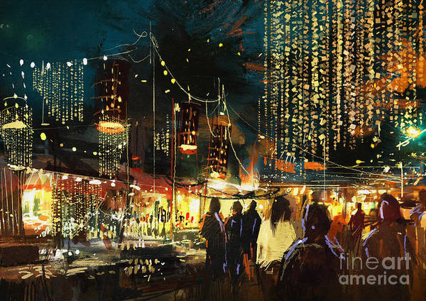 Painting Of Shopping Street City With Art Print