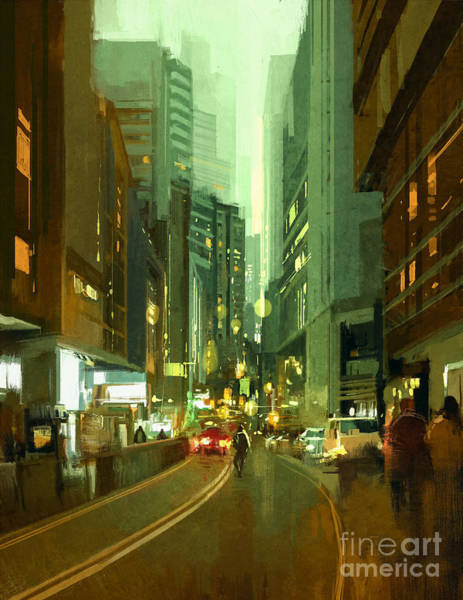 Scenery Digital Art - Painting Of Street In Modern Urban City by Tithi Luadthong