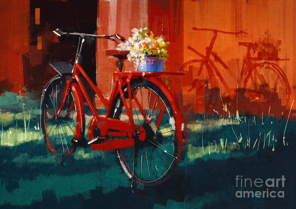 Wall Art - Digital Art - Painting Of Vintage Bicycle With Bucket by Tithi Luadthong