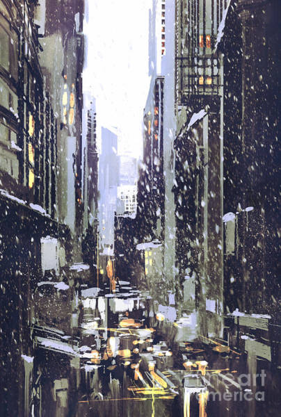 Wall Art - Digital Art - Painting Of Winter City With by Tithi Luadthong