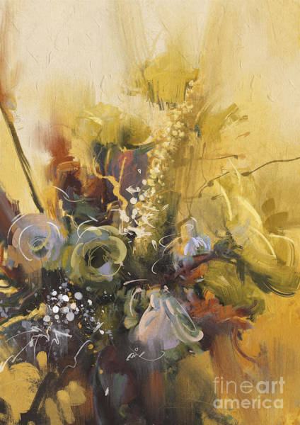 Shrub Wall Art - Digital Art - Painting Showing Bouquet Of Beautiful by Tithi Luadthong