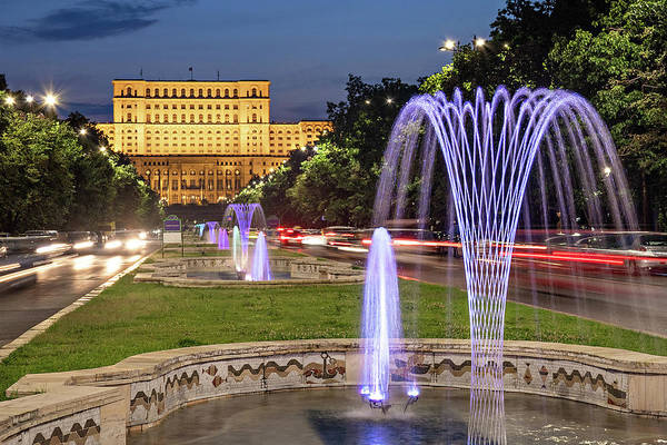 Photograph - Palace Of Parliament At Night - Bucharest by Barry O Carroll