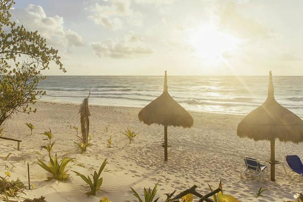 Palapa Wall Art - Photograph - Palapas At Sunrise On Beach With Ocean by Sasha Weleber
