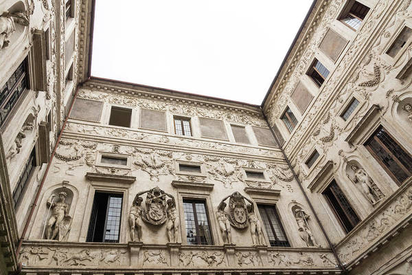Photograph - Palatial Courtyard - Opulent Walls With Reliefs Statues Friezes And Coats Of Arms by Georgia Mizuleva