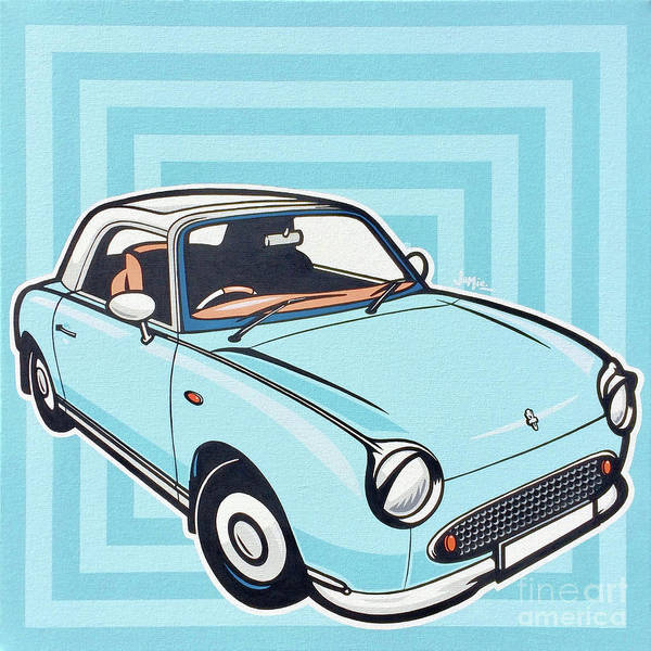 Wall Art - Painting - Pale Aqua Nissan Figaro by James Lee
