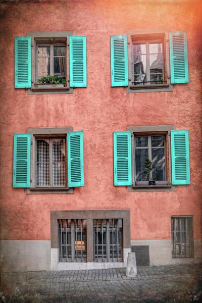 Wall Art - Photograph - Pale Blue Shuttered Windows Geneva Switzerland  by Carol Japp
