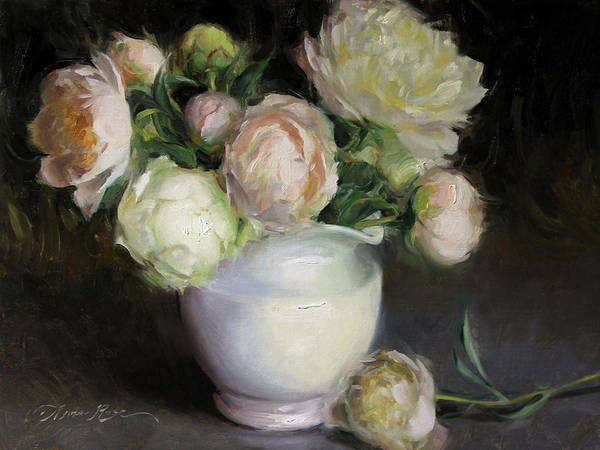 Peonies Wall Art - Painting - Pale Peonies by Anna Rose Bain