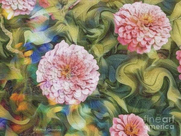 Digital Art - Pale Pink Dahlias by Kathie Chicoine