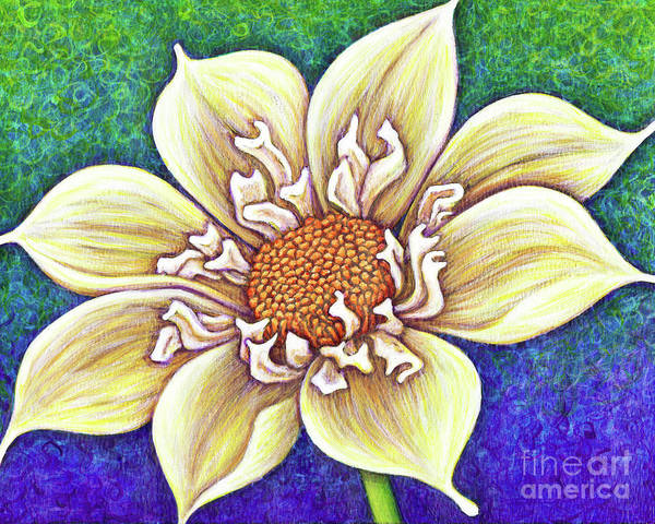 Painting - Pale Yellow Collarette Dahlia by Amy E Fraser