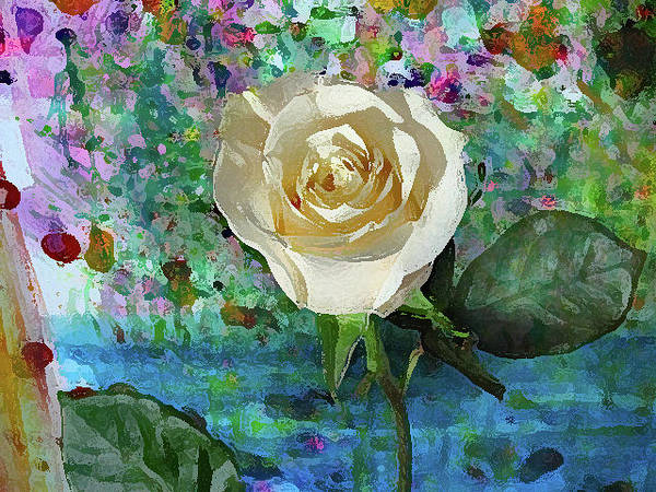 Mixed Media - Pale Yellow Rose by Corinne Carroll