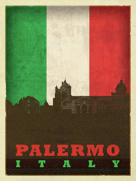 Wall Art - Mixed Media - Palermo Italy City Skyline Flag by Design Turnpike