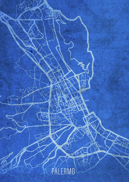 Wall Art - Mixed Media - Palermo Italy City Street Map Blueprints by Design Turnpike