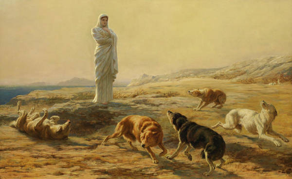 Riviere Painting - Pallas Athena And The Herdsman's Dogs, 1876 by Briton Riviere