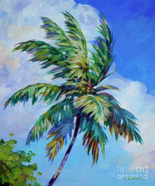 Wall Art - Painting - Palm Against A Cloud by John Clark