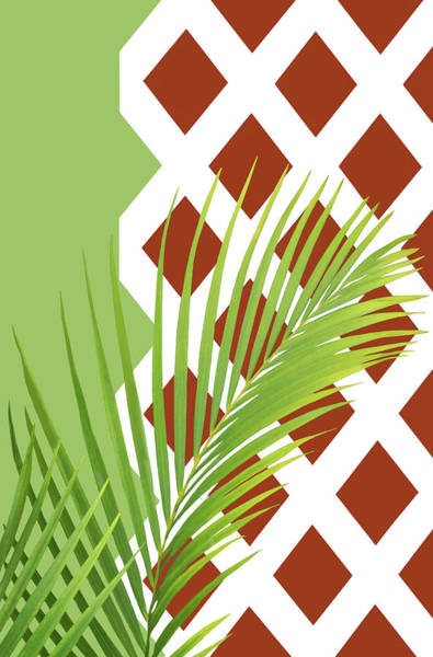 Palm Frond Digital Art - Palm Fronds And Trellis - No 2 by Nikolyn McDonald