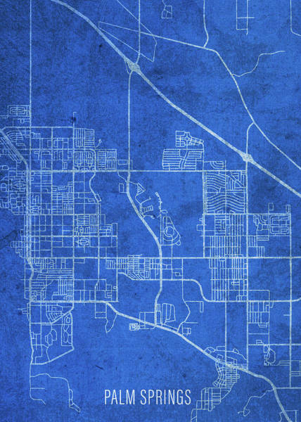 Wall Art - Mixed Media - Palm Springs California City Street Map Blueprints by Design Turnpike