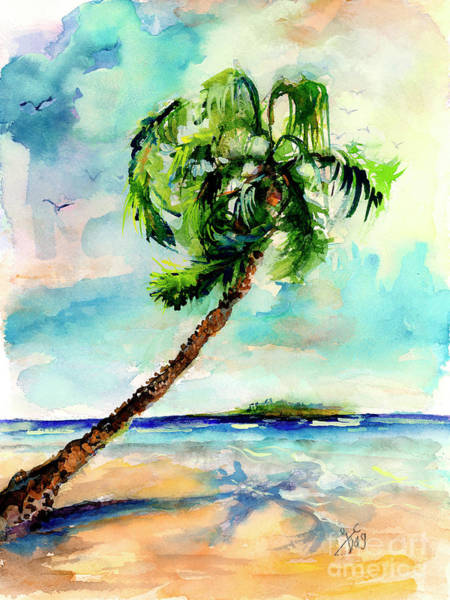 Painting - Palm Tree And Beach Watercolor by Ginette Callaway