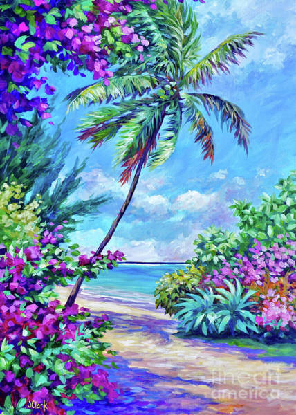 Wall Art - Painting - Palm Tree And Bougainvillea 5x7 by John Clark