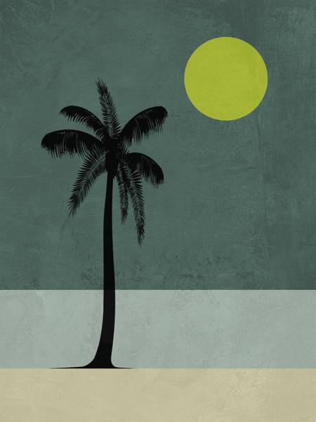 Earth Day Wall Art - Mixed Media - Palm Tree And Yellow Moon by Naxart Studio