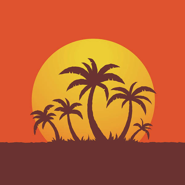 Tropics Digital Art - Palm Trees And Sun by John Schwegel