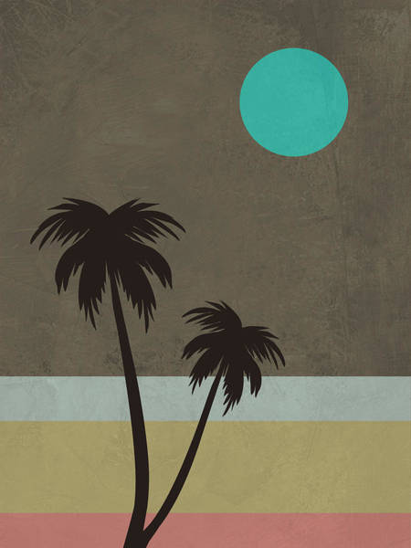 Earth Day Wall Art - Mixed Media - Palm Trees And Teal Moon by Naxart Studio
