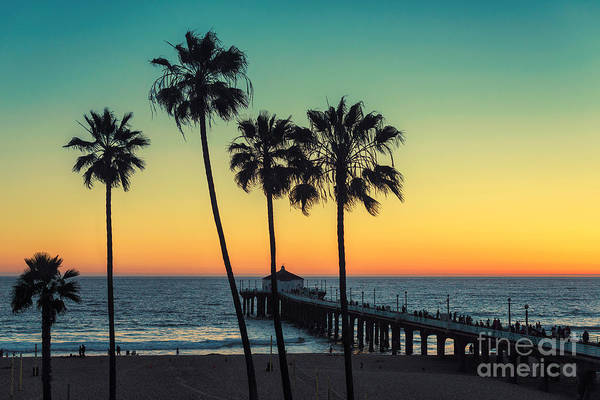 Landmark Wall Art - Photograph - Palm Trees At Manhattan Beach. Vintage by Lucky-photographer