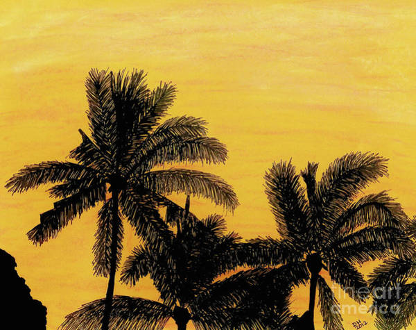 Drawing - Palm Trees - At - Sunrise by D Hackett