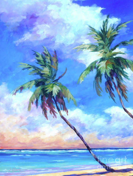 Wall Art - Painting - Palms And Evening Clouds by John Clark