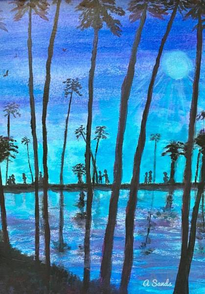 Wall Art - Painting - Palms At Night by Anne Sands