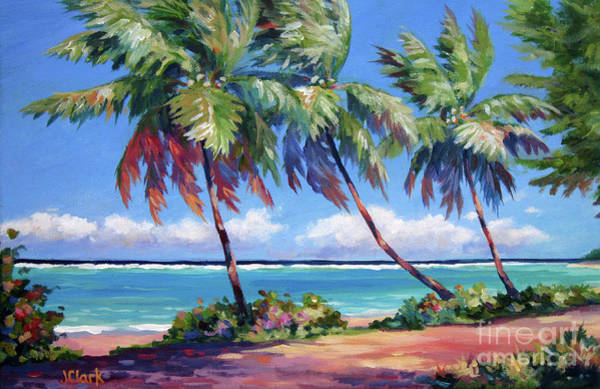 Wall Art - Painting - Palms At The Island's End by John Clark