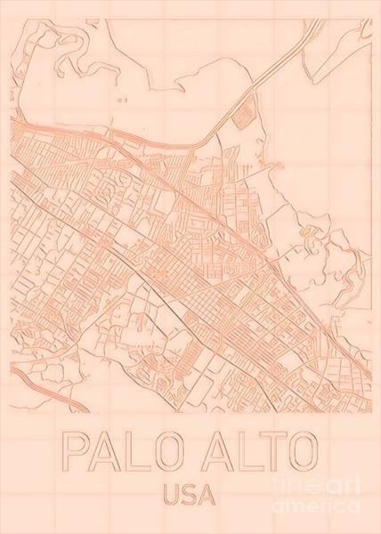 Digital Art - Palo Alto Blueprint City Map Alt by Helge