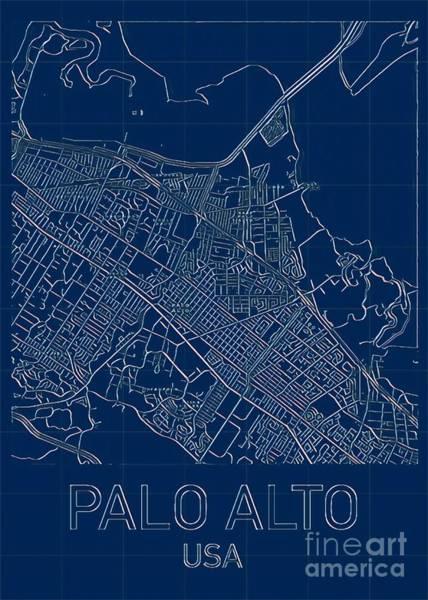 Digital Art - Palo Alto Blueprint City Map by Helge