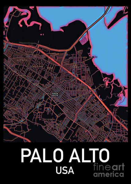 Digital Art - Palo Alto City Map by Helge