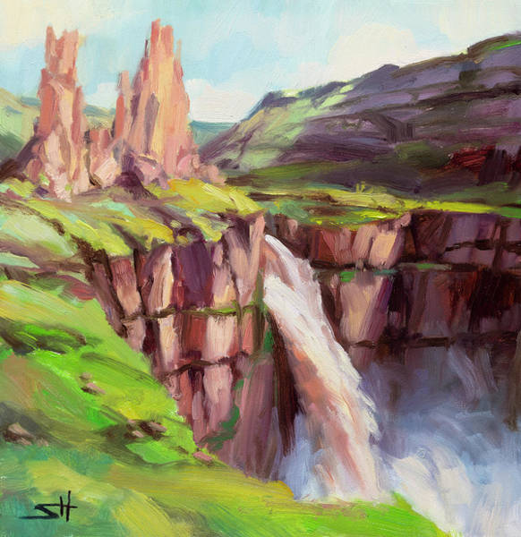 Wall Art - Painting - Palouse Falls Rush by Steve Henderson
