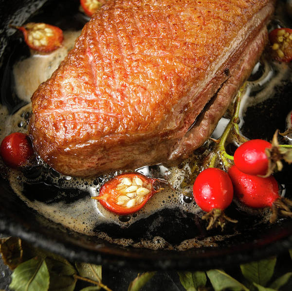 Hip Photograph - Pan Fried Duck Breast With Rose Hips by Duncan Davis