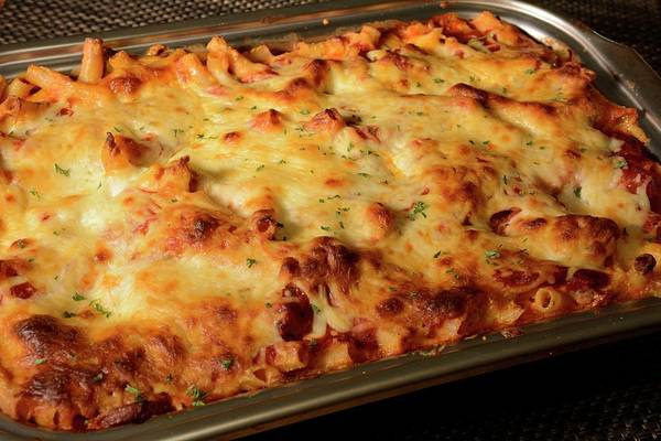 Photograph - Pan Of Baked Ziti by Angie Tirado