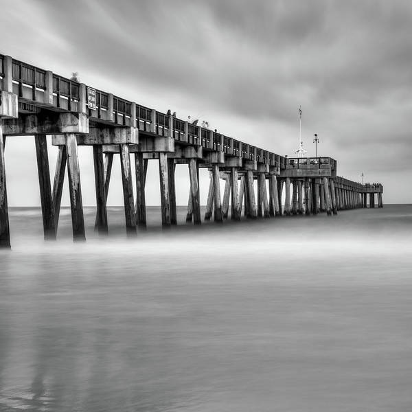 Photograph - Panama City Beach Florida Pier In Monochrome 1x1 by Gregory Ballos