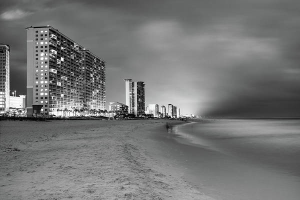 Photograph - Panama City Beach Florida Skyline At Dusk - Monochrome by Gregory Ballos