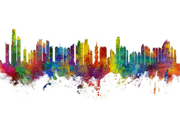 Panama Digital Art - Panama City Skyline by Michael Tompsett