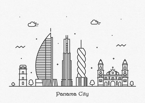 Wall Art - Drawing - Panama Cityscape Travel Poster by Inspirowl Design