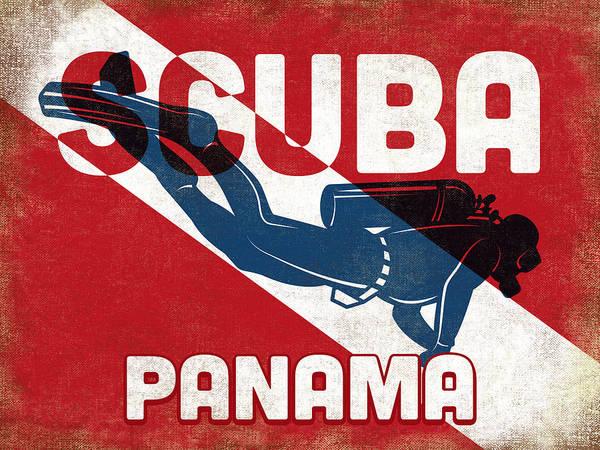 Panama Digital Art - Panama Scuba Diver - Blue Retro by Flo Karp