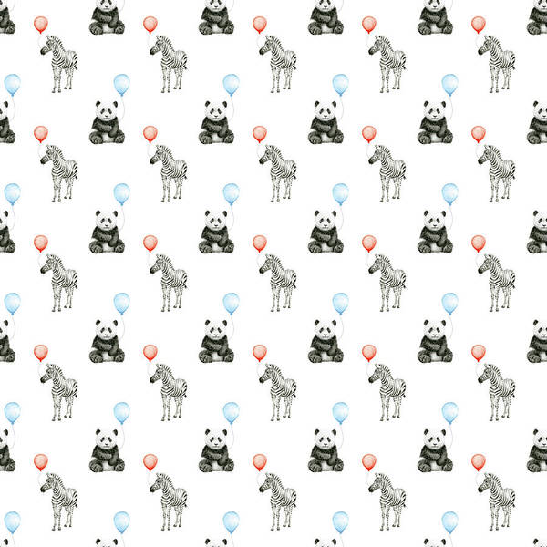 Zebra Painting - Panda And Zebra With Balloons Pattern by Olga Shvartsur