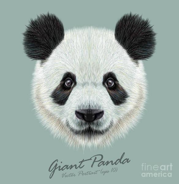 Panda Animal Cute Face. Vector Asian Art Print