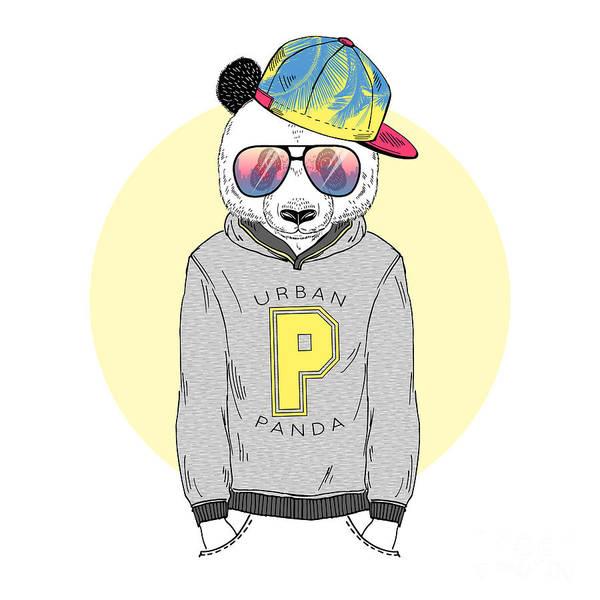 Panda Wall Art - Digital Art - Panda Boy Dressed Up In Hoodie With by Olga angelloz