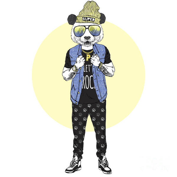 Hip Wall Art - Digital Art - Panda Boy Dressed Up In Rock Star by Olga angelloz